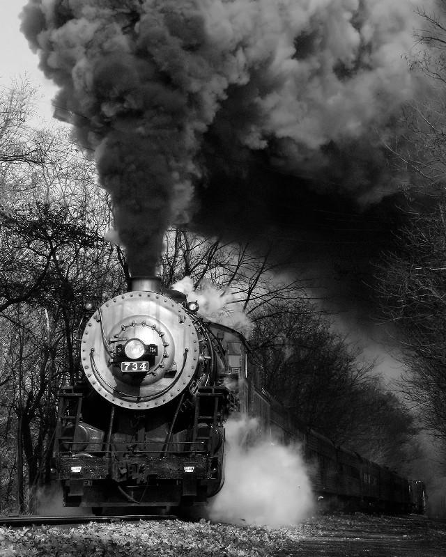 Engine 734 Black & White T02_1011