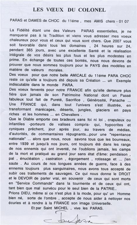 Amicale 11° Para choc : LES VOEUX DU COLONEL Sassi-10