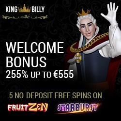 King Billy Casino 5 free spins no deposit