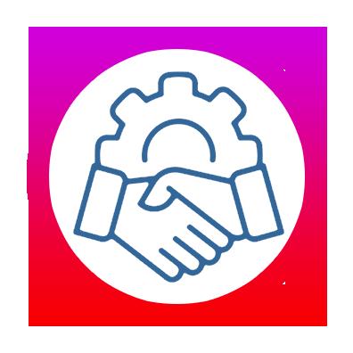 icone Être partenaire avec 4 entreprises étrangères