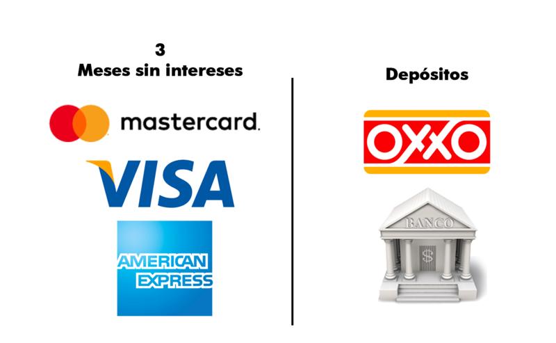 Nuestras formas de pago son: tarjeta de crédito (hasta 18 meses sin intereses), tarjeta de débito y depósitos.