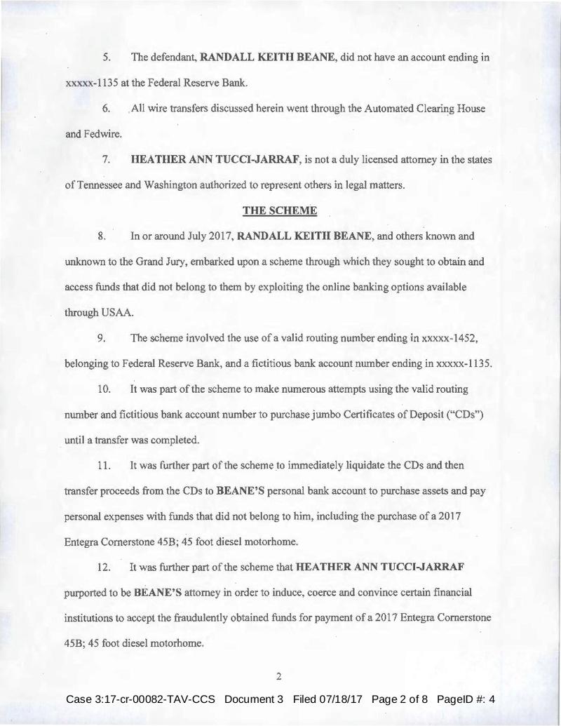 USA vs Randall Beane, Heather Ann Tucci-Jarraf Indictment 7/18/17