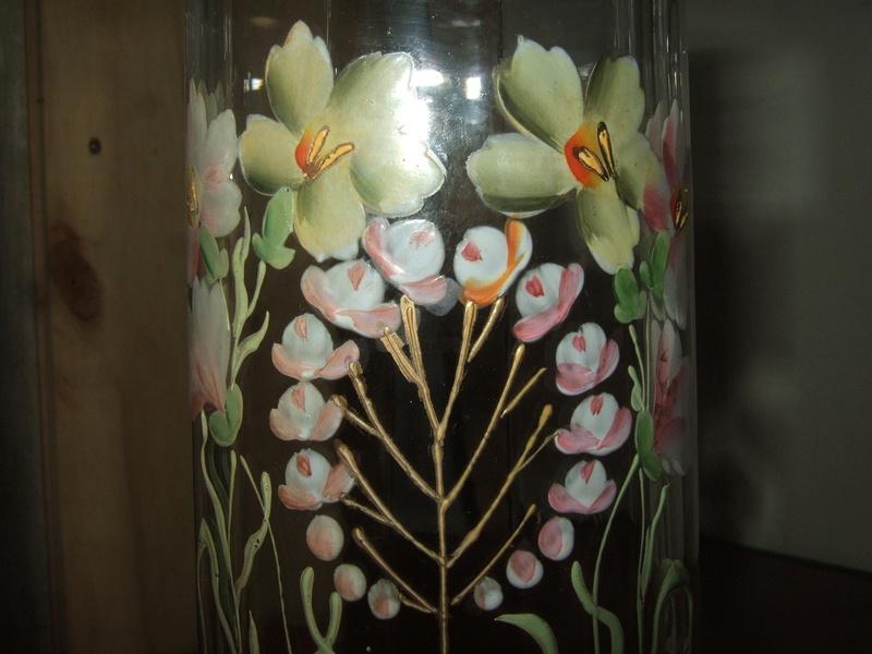 Paire de vase verre cristal d cor fleur maill for Decoration quadrilobe